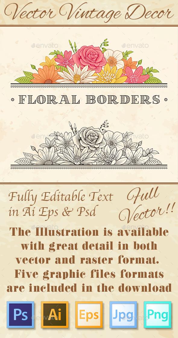 Vintage Flower Border Ornament - Flowers & Plants Nature