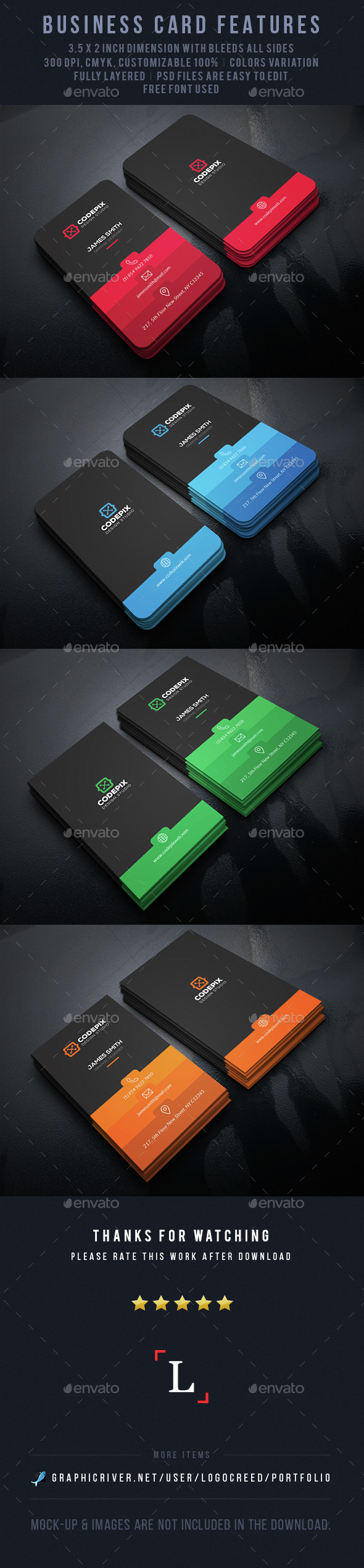 Color Shade Business Card V.2 - Business Cards Print Templates