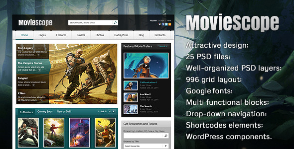 Free Download MovieScope PSD Template Nulled Latest Version