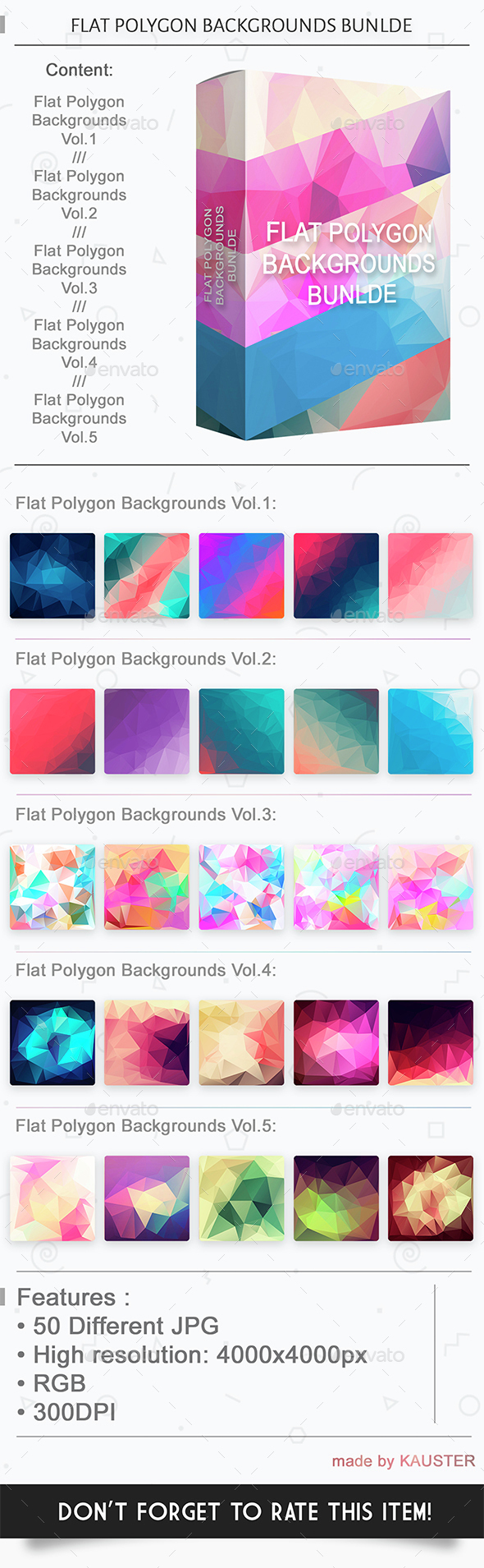 Flat polygon backgrounds bundle - Abstract Backgrounds