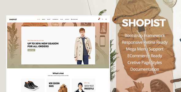 Shopist – Responsive Stylish Site eCommerce Template