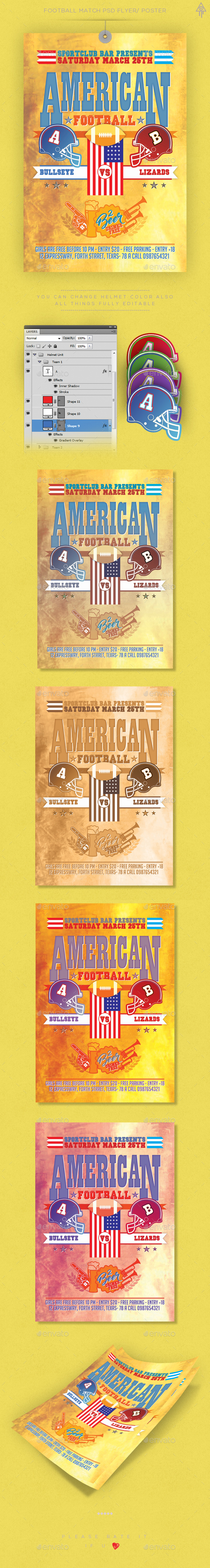 American Football Match Poster / Flyer - Sports Events