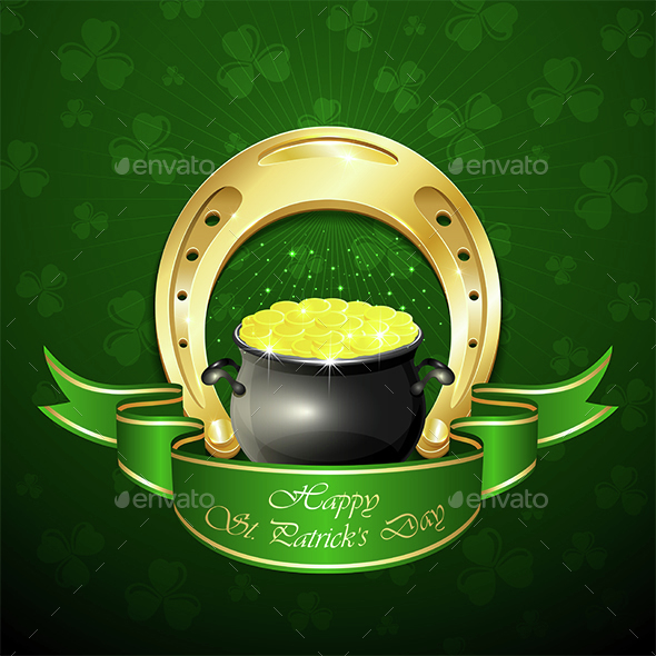 Patricks Day Background with Horseshoe and Pot - Miscellaneous Seasons/Holidays