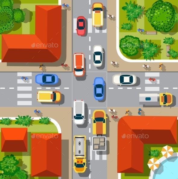 Top View of the City - Buildings Objects