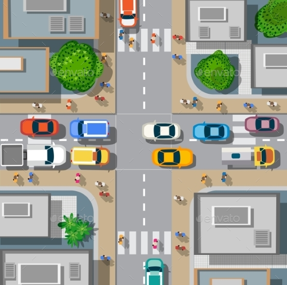 Urban Crossroads with Cars - Buildings Objects