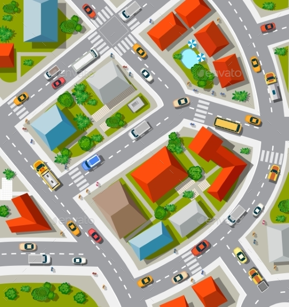 Top View of Urban Crossroads - Buildings Objects