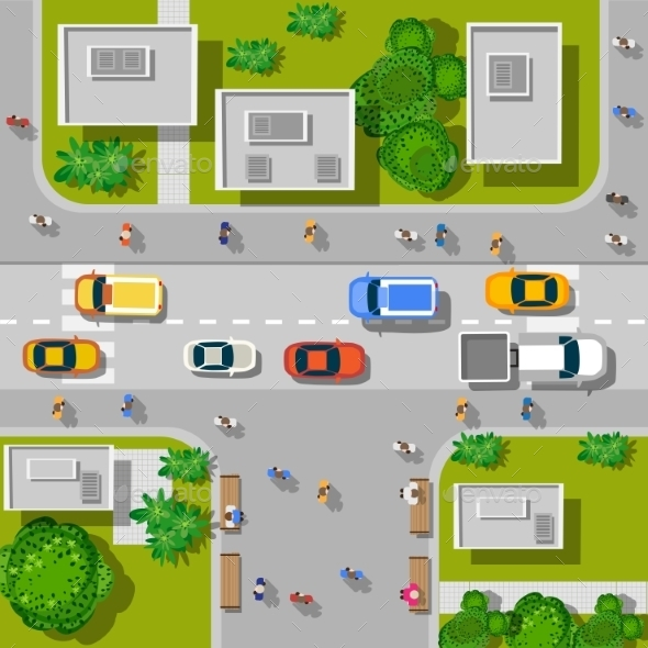 Top View of Urban Road - Buildings Objects