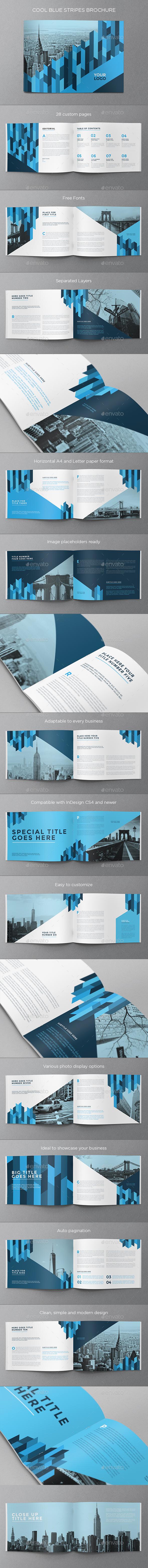 Cool Blue Stripes Brochure - Brochures Print Templates