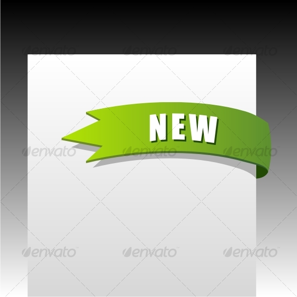 New green corner business ribbon - Decorative Symbols Decorative