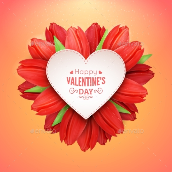 Heart of Flowers and Text - Valentines Seasons/Holidays