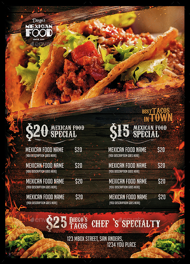 mexican food menu by monkeybox