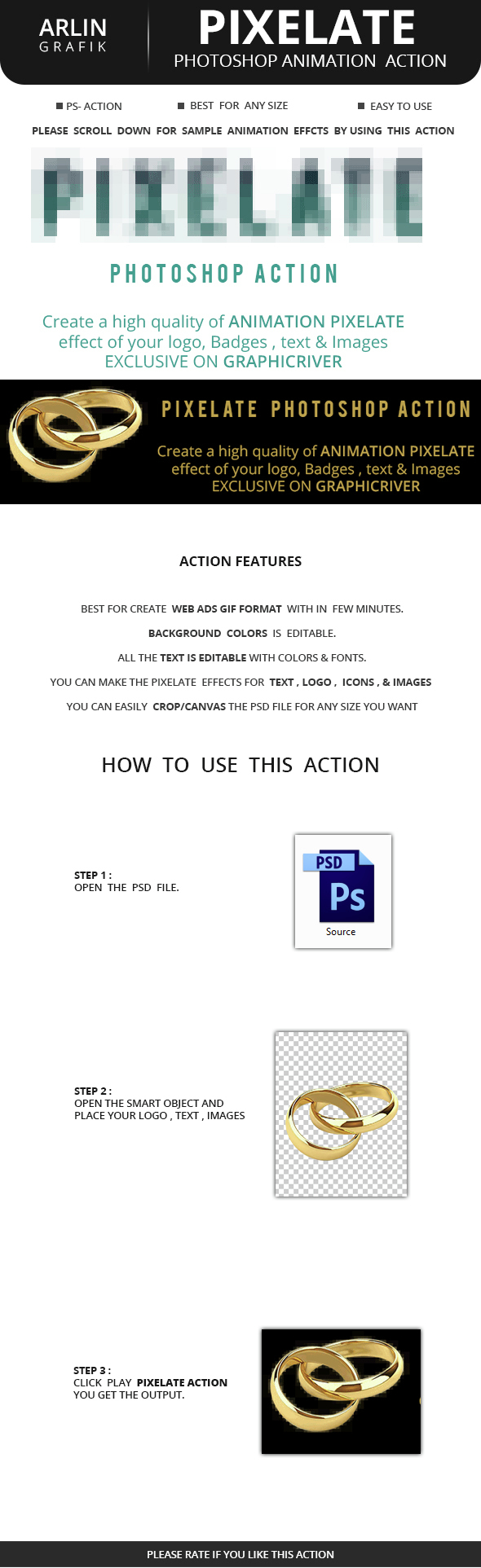 Pixelate Animation Action - Actions Photoshop