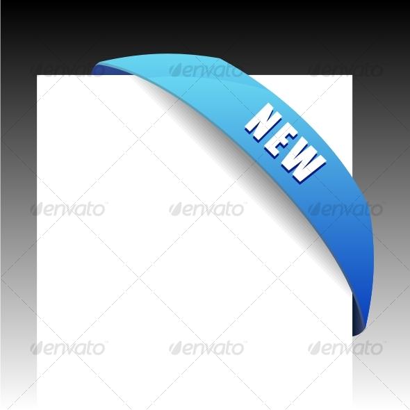 New blue corner business ribbon - Decorative Symbols Decorative