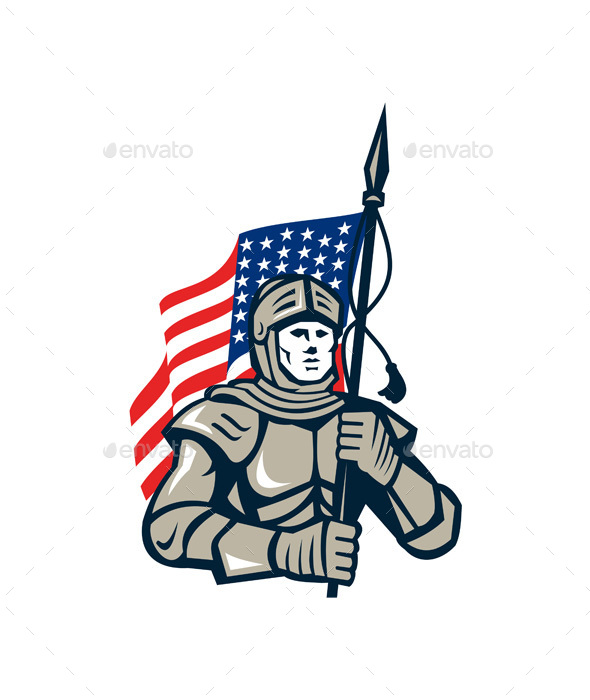 Knight Holding USA Flag Retro - People Characters