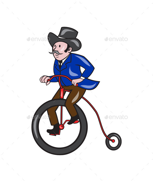 Gentleman Riding Penny-Farthing Cartoon - People Characters