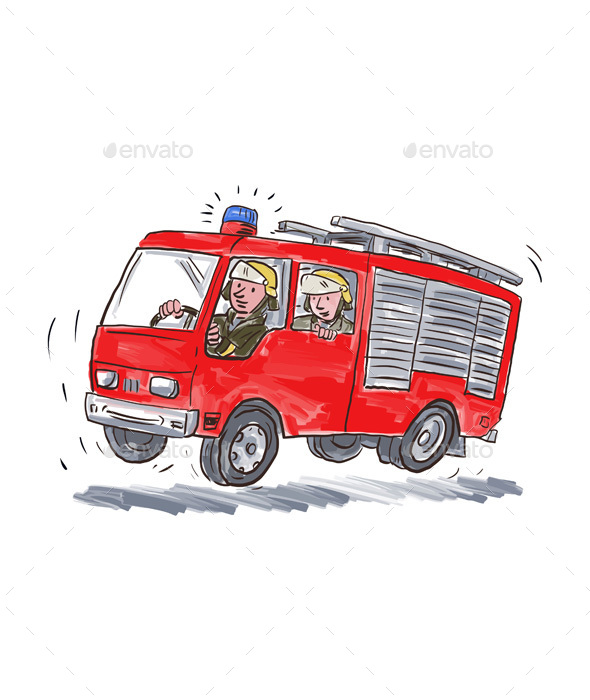 Red Fire Truck Fireman Caricature - Miscellaneous Vectors