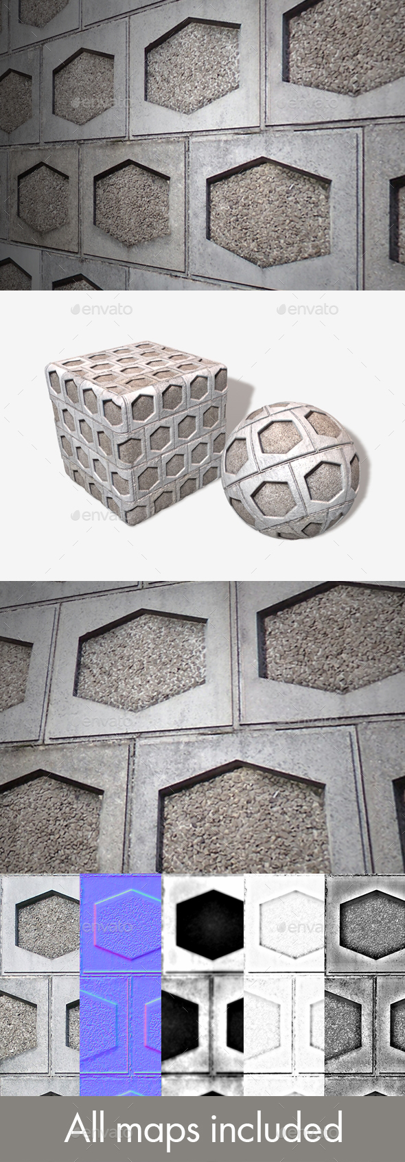 Hexagon Tile Industrial Wall Seamless Texture - 3DOcean Item for Sale