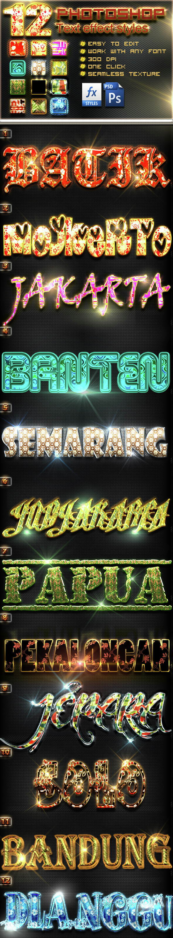 12 Styles Text BATIK local Indo - Photoshop vol5 - Text Effects Styles