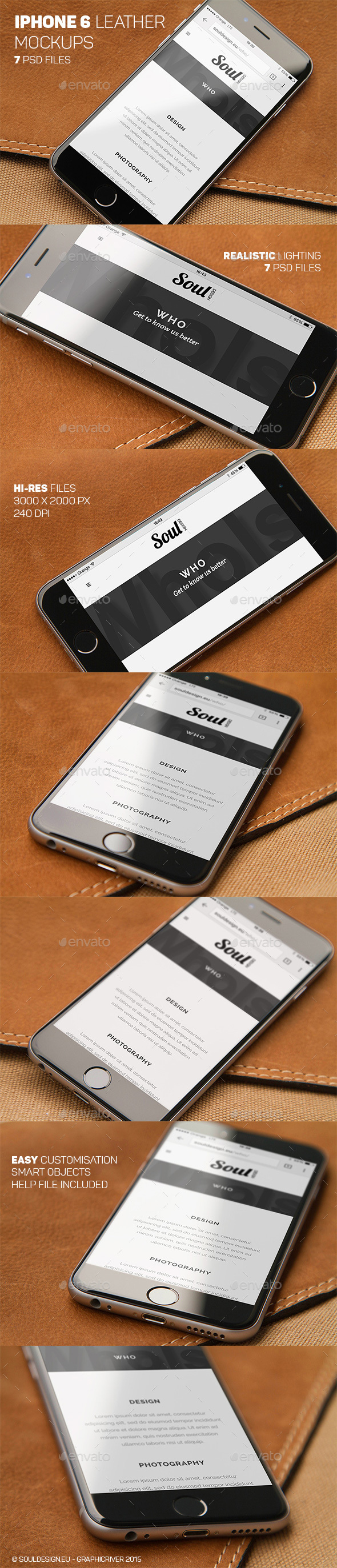 iPhone 6 Closeup Mockups Leather - Mobile Displays