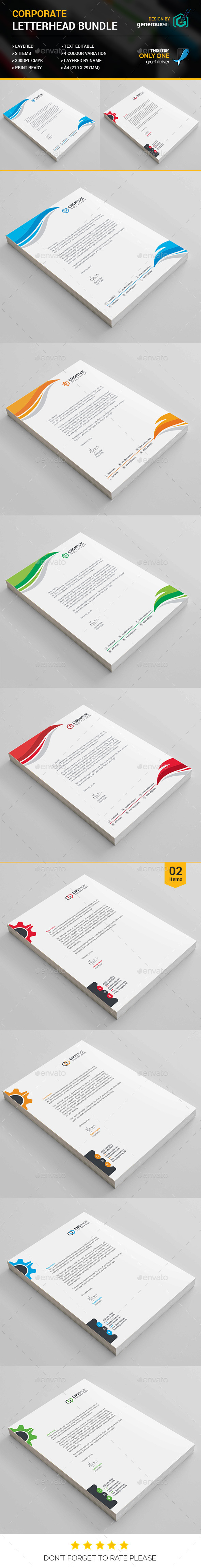 Corporate Letterhead Bundle - Stationery Print Templates