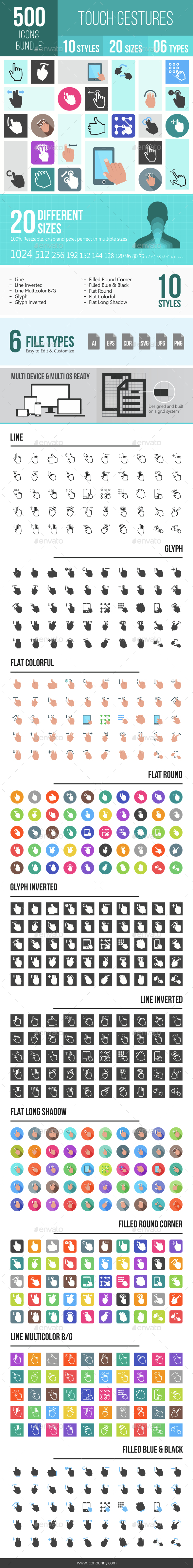 500 Touch Gestures Icons Bundle - Icons