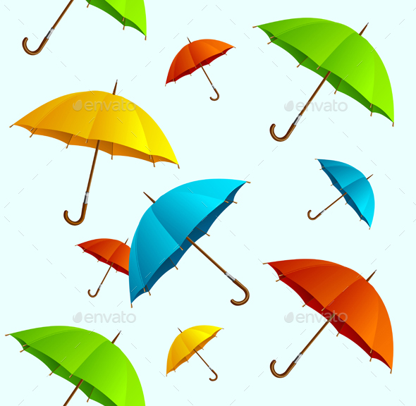 Seamless Pattern Colorful Umbrellas Flying. Vector - Patterns Decorative