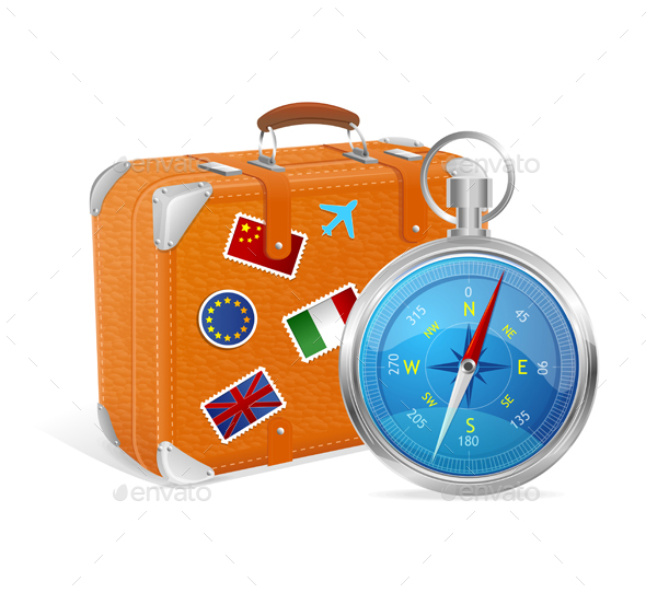 Blue Compass and Suitcase. Vector Illustration. - Travel Conceptual