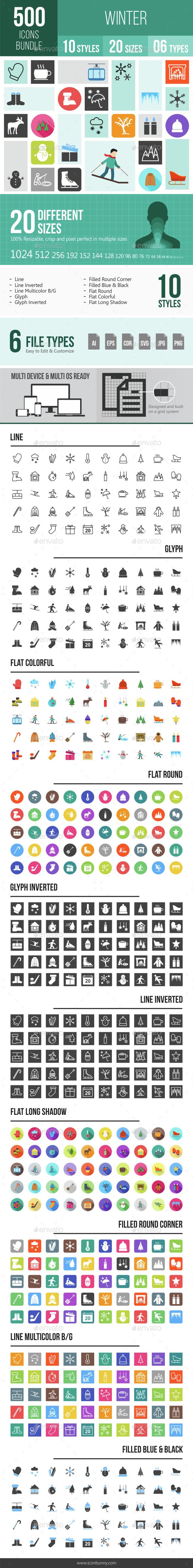500 Winter Icons Bundle - Icons