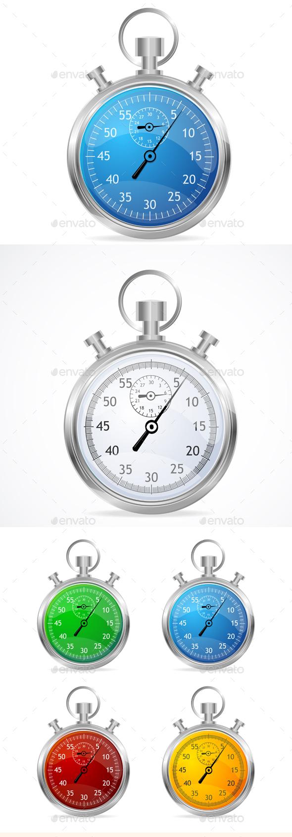 Stopwatch Set. Vector  - Objects Vectors