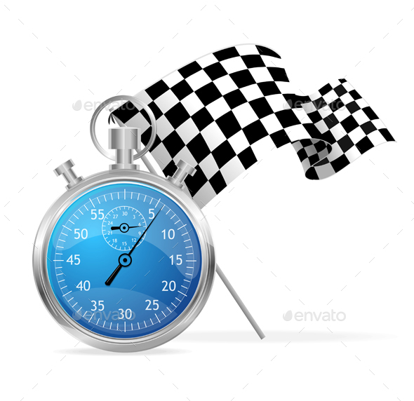 Blue Stopwatch and Flag. Vector  - Sports/Activity Conceptual