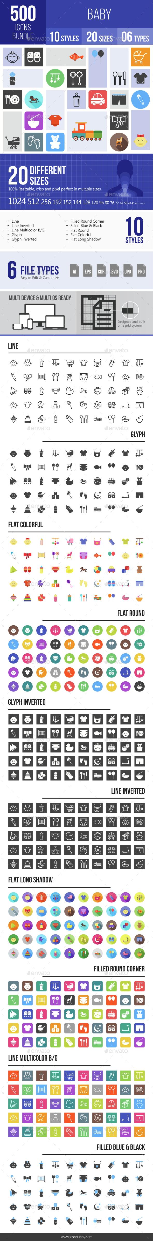 500 Baby Icons Bundle - Icons