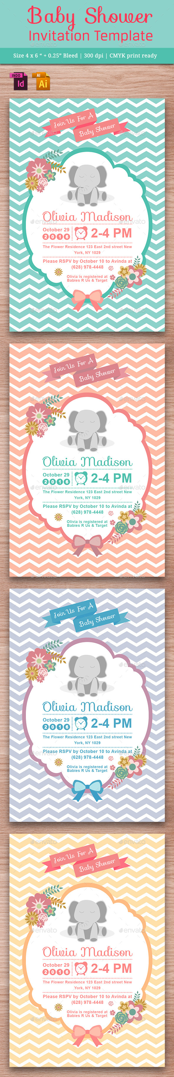 Baby Shower Template - Vol. 12 - Cards & Invites Print Templates