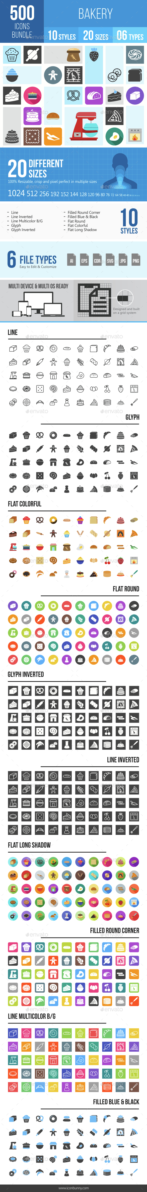 500 Bakery Icons Bundle - Icons