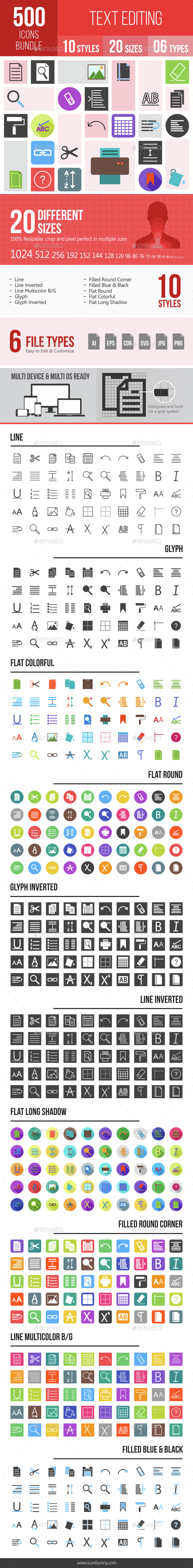 500 Text Editing Icons Bundle - Icons