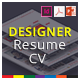Designer Resume CV Template - GraphicRiver Item for Sale