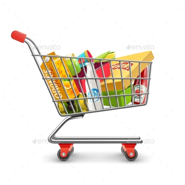 Shopping Supermarket Cart With Grocery Pictogram - Commercial / Shopping Conceptual
