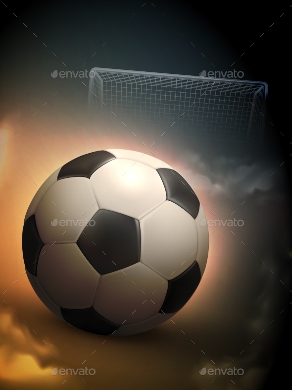 Soccer Ball And Steel Goal Background - Sports/Activity Conceptual