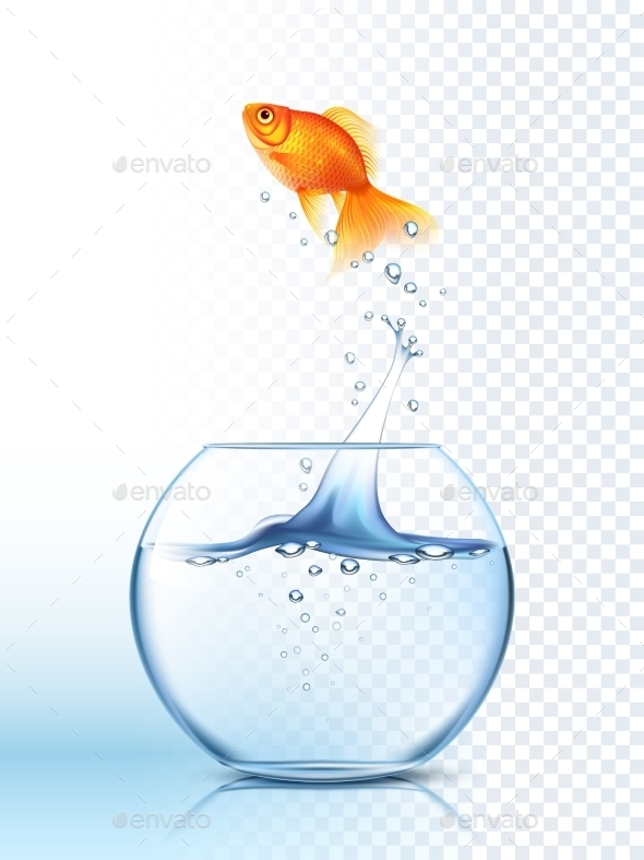 Golden Fish Jumping Out Bowl Poster - Abstract Conceptual
