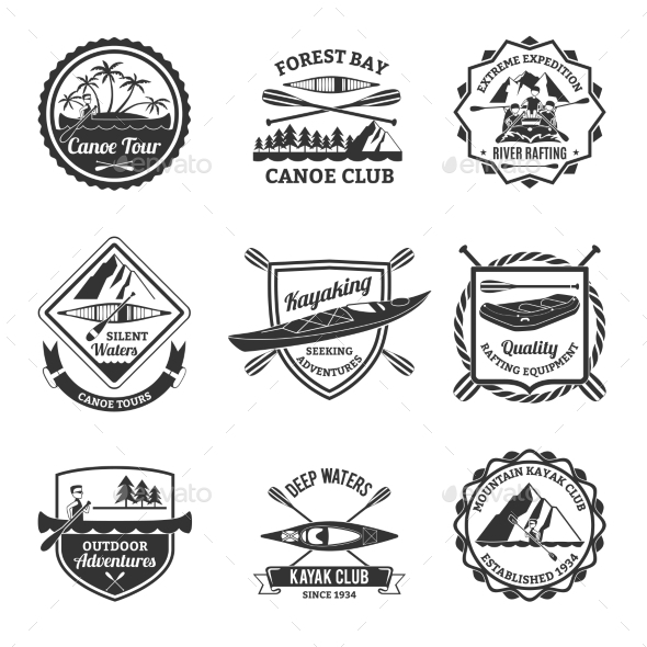 Rafting Canoeing And Kayak Emblems Set  - Sports/Activity Conceptual
