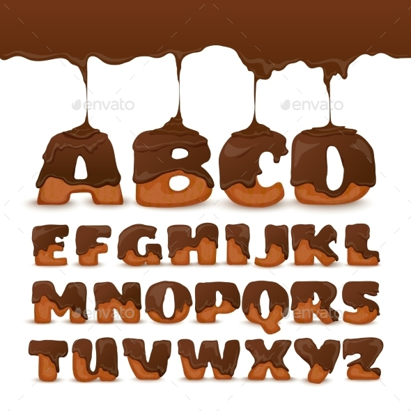 Melting Chocolate  Alphabet Cookies Collection - Food Objects