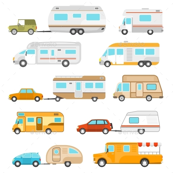 Recreational Vehicle Icons Set  - Travel Conceptual