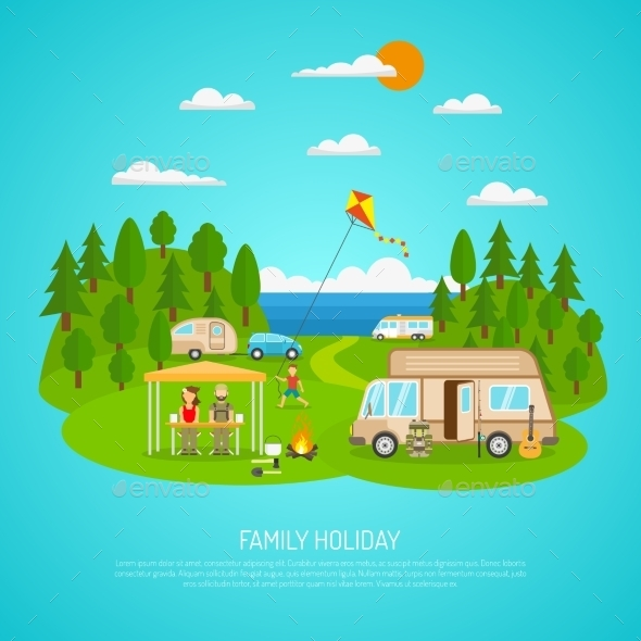 Family Camping Illustration  - Travel Conceptual