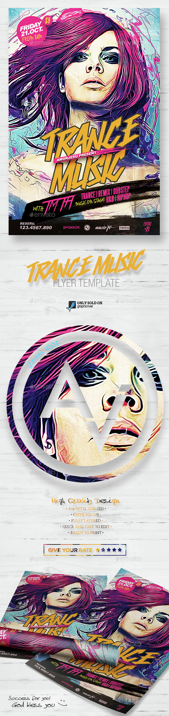 Trance Music Flyer Template - Clubs & Parties Events