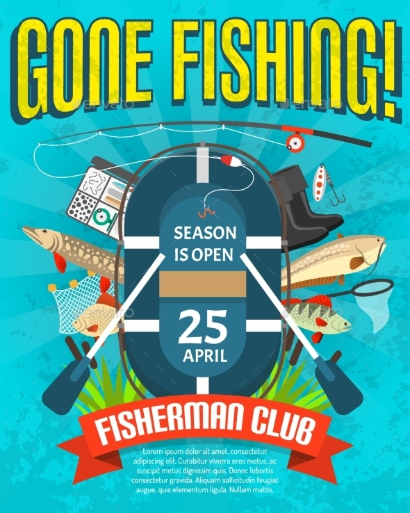 Fishing Poster  With Date Of Season Opening  - Backgrounds Decorative