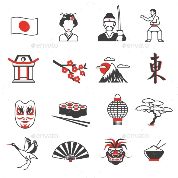 Japan Red Black Icons Set  - Objects Icons
