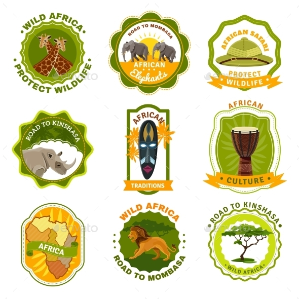 Africa Emblems Set - Travel Conceptual