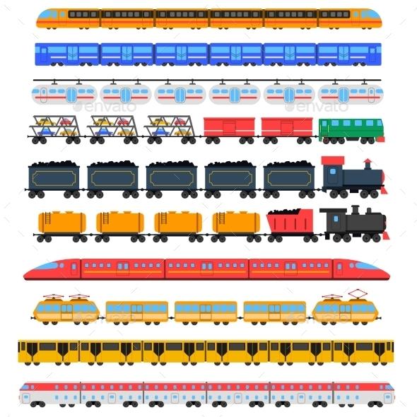 Train Icons Set - Travel Conceptual