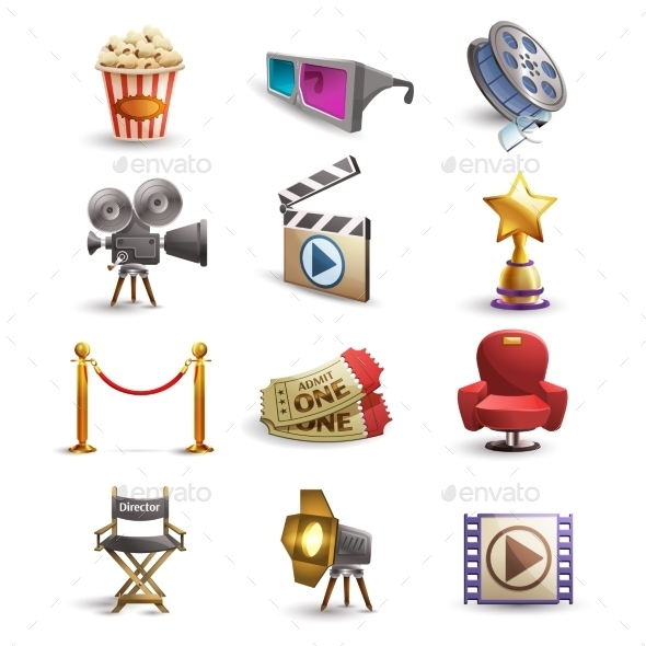 Cinema Icons Set - Decorative Symbols Decorative