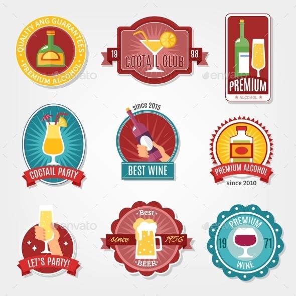 Alcohol Labels Design Set - Decorative Symbols Decorative