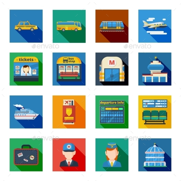 Passenger Transportation Flat Square Icons  - Objects Icons